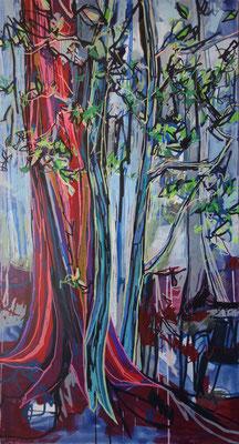 ichglaubichstehimwalde, 70x130cm, acryl on canvas, banck 2013