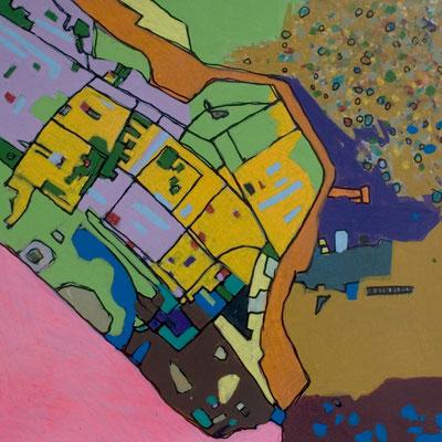 konvergenz_sat20_02, 20x20cm, Acryl auf Papier, 2010