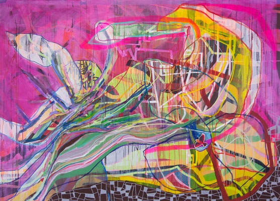 reassemble, 195cm x 140cm, mixed media on canvas, Banck 2017
