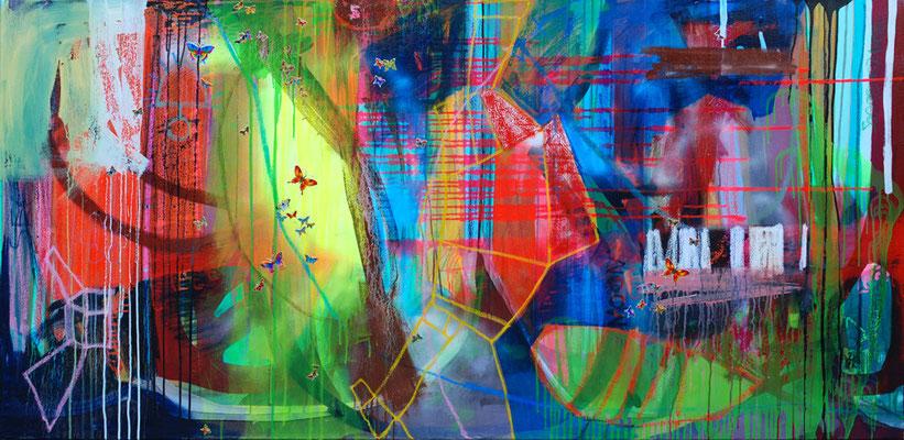 Butterfly, 185x90cm, oil+acryl on canvas, banck 2008