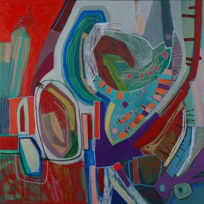 auf dem Weg, 120x120cm, oil+acryl on canvas, banck 2008