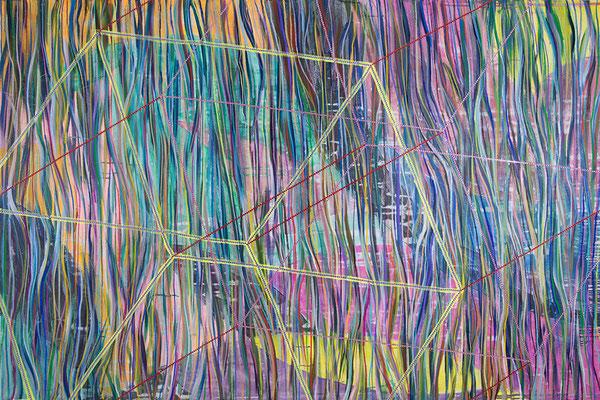 dimensions, 210x140cm, mixed media on canvas, Banck 2016