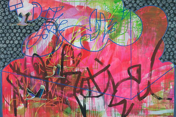 destinction, 210x140cm, mixed media on canvas, Banck 2016