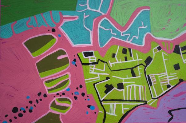 konvergenz_sat30_16, 30x20cm, Acryl auf Papier, 2010