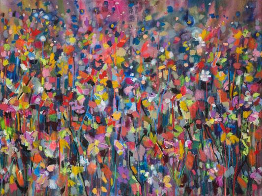 Bonbonblumen, 120x90cm, mixed media on canvas, Banck 2019