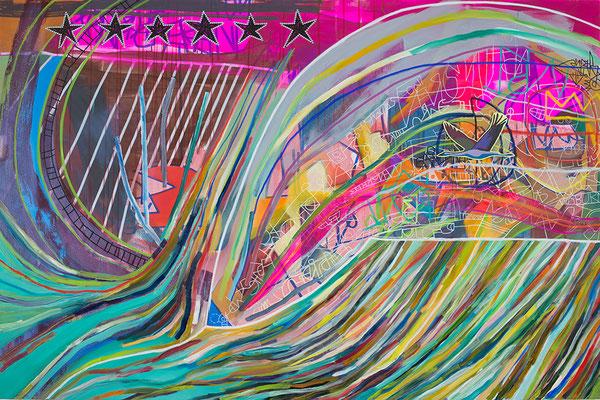 raise your voice, 210x140cm, mixed media on canvas, Banck 2016