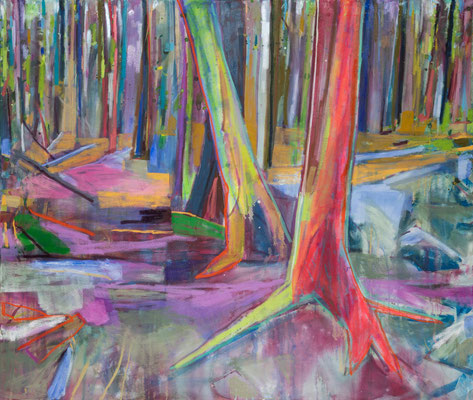 Schnittstelle, 130x110cm, mixed media on canvas, Banck 2019