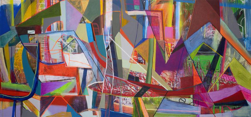 Scheingebirge, 300x140cm, mixed media on canvas, 2019 Banck