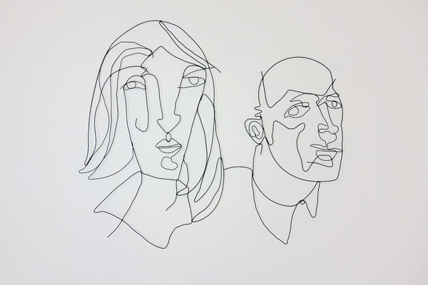 couple 2, 160cmx140cm, plastic coated wire, banck 2013