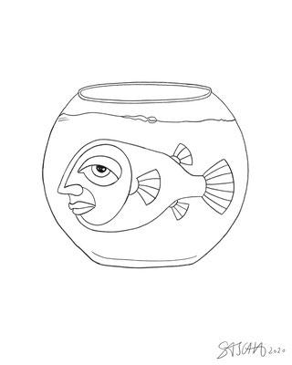Menschfisch-Glas 1