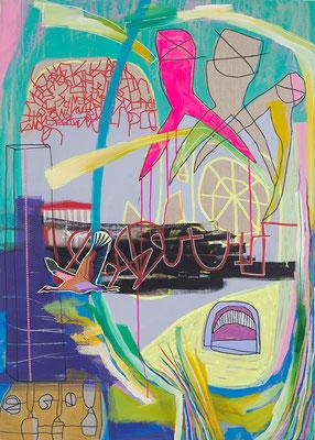 turn around, 100x140cm, mixed media on cavas, banck 2016