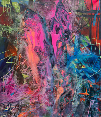 rosa Wasserfall, 60x70cm, acryl on canvas, banck 2020