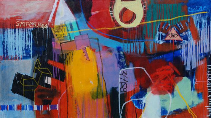 Balance, 160x80cm, oil+acryl on canvas, banck 2008 #