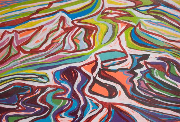 konvergenz_sat30_08, 30x20cm, Acryl auf Papier, 2010