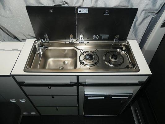 Gaskocher und Spüle