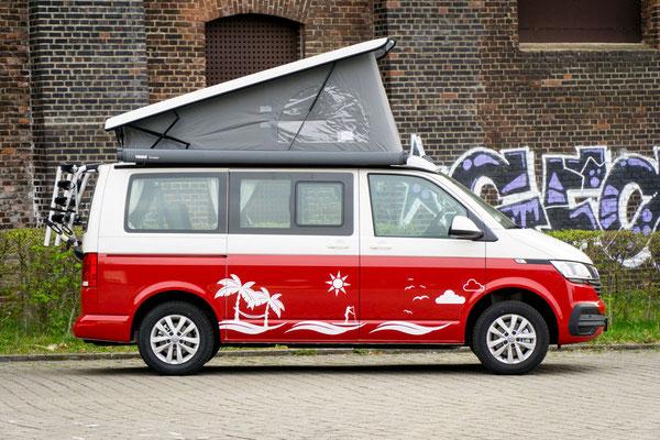 Halbfolierung VW T6 in Rot mit individuellem Wunschmotiv