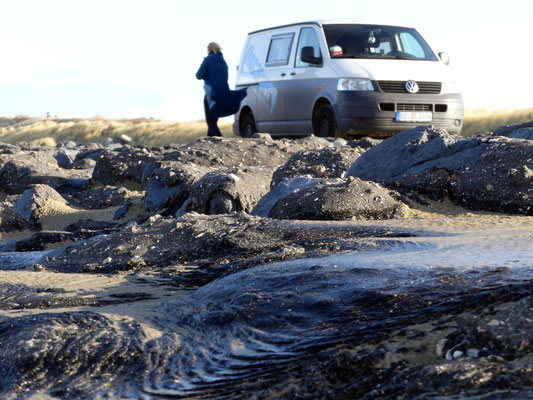 Steinmole am niederlänischen Nordseestrand