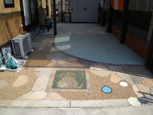 駐車スペース土間コンクリート、板石乱張り、透水性樹脂仕上げ