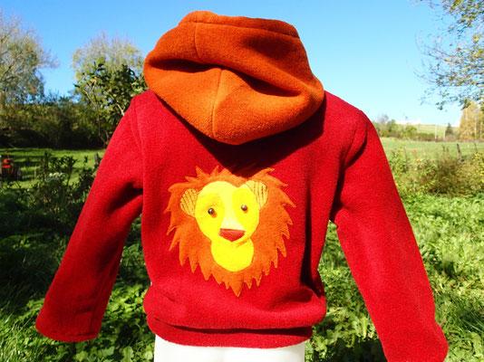 """Pull capuche """"Ch'uis un lion ..."""" (Dos)"""