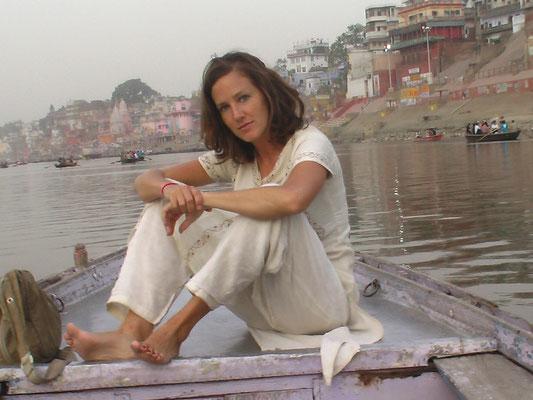 On a boat in Varanasi