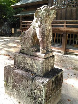 與止日女神社の狛犬【吽形】全体像の写真