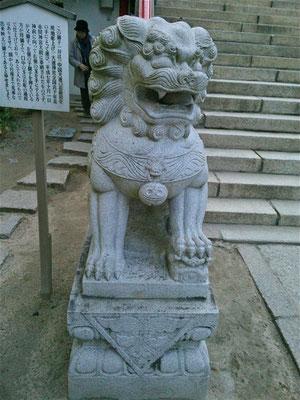 赤間神宮の狛犬01番【吽形】全体像の写真