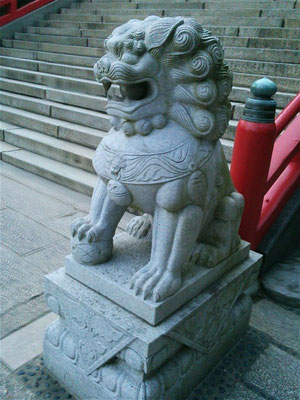赤間神宮の狛犬01番【阿形】横から撮影した写真