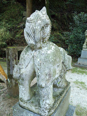 後鳥羽神社の狛犬【阿形】お尻の写真