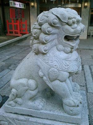 赤間神宮の狛犬01番【阿形】真横から撮影した写真