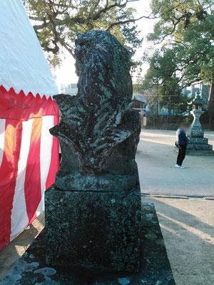 與止日女神社の狛犬【阿形】後ろの写真