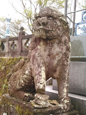 陶山神社の狛犬06番【吽形】アップの写真