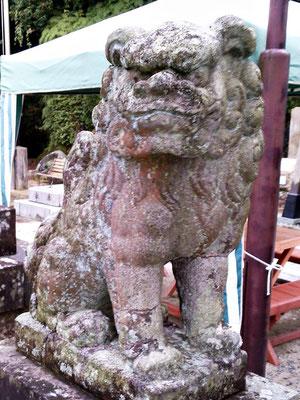 陶山神社の狛犬03番【吽形】アップの写真