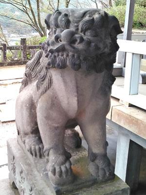 陶山神社の狛犬08番【吽形】アップの写真