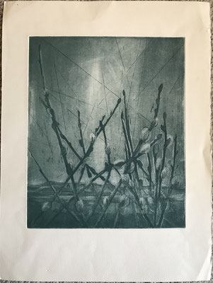"""""""L'éveil"""". Paule Danjou . Burin et aquateinte . 1977"""