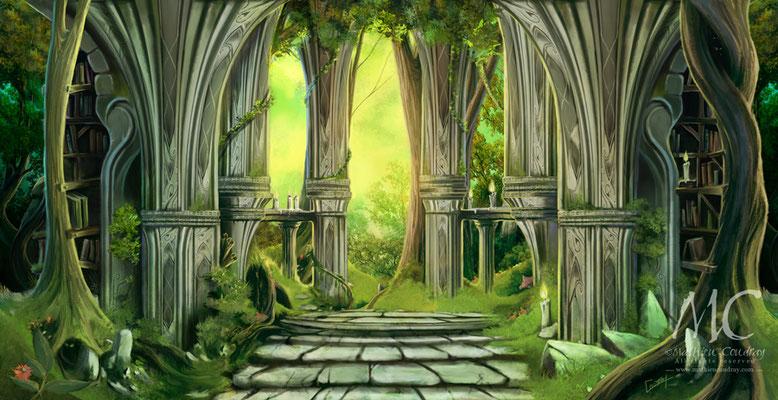 Forêt Elfique 2 - illustration réalisée pour la communication visuelle du Festival Troll et Légendes 2015