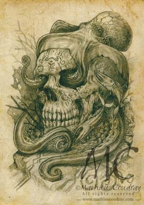 Illustration pour série carte postale collection : Post Mortem - Mathieu Coudray