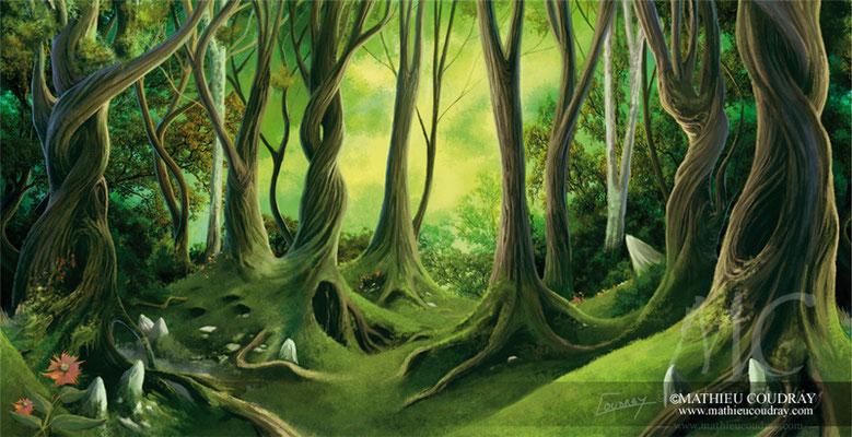 Forêt Elfique 1 - illustration réalisée pour la communication visuelle du Festival Troll et Légendes 2013