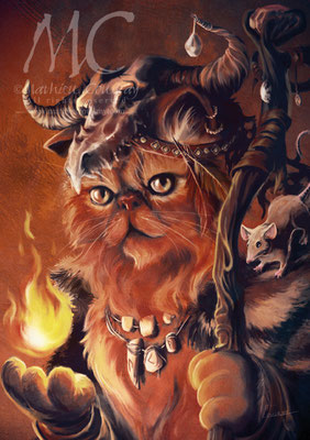 Shaman - Illustration Le Registre des Chats Imaginaires - Maz Editions - Mathieu Coudray