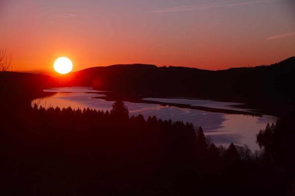 Joachim Schuldt , Sonnenaufgang über dem Säntis und Schluchsee am  01.01.2020 , Corona ist noch weit weg !