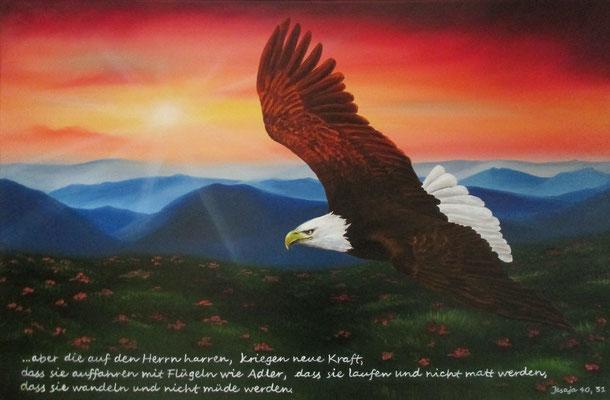 Auffahren mit Flügeln wie Adler