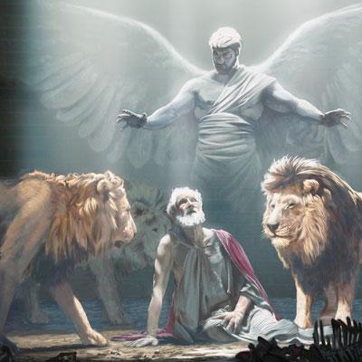 Daniel 6,23a: Mein Gott hat seinen Engel gesandt, und er hat den Rachen der Löwen verschlossen, so dass sie mich nicht verletzt haben, ...