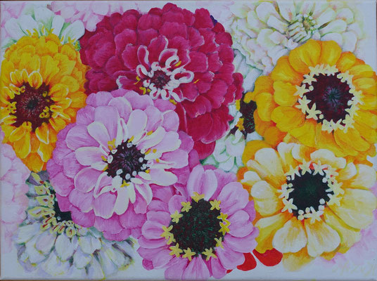 "2016 ""Zinnia's I; different colors"".   Acrylic paint on linen    30 x 40 cm."