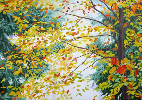 """ Every moment is worth living, Shinrin yoku"" painted by Marian van Zomeren- van Heesewijk with acrylic-paint on linen 70 x 100 cm."