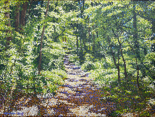 """""""Simply be happy on a forest path""""   Acrylic-paint on linen 60 x 80 cm."""