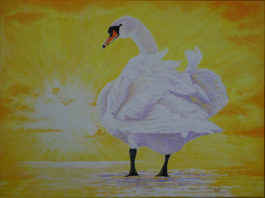 """2014 """"This is a new day. We vow to go through it in mindfulness.  The sun of wisdom has now risen, shining in every direction."""". Acrylic paint on linen   60 x 80 cm."""