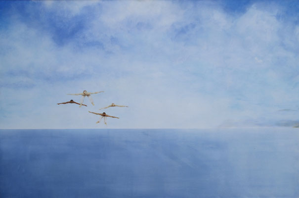 I am bird, spreading out his wings. I am free. Painted by Marian van Zomeren- van Heesewijk with acrylic paint on a panel 80 x 120 cm.