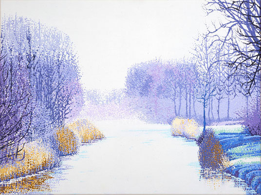 """2016""""Nowhere to go, nothing to do, no longer in a hurry.""""Thich Nhat hanh. Winter near Rotterdam. Painted by Marian van Zomeren- van Heesewijk with acrylicpaint on linen 60 x 80 cm."""