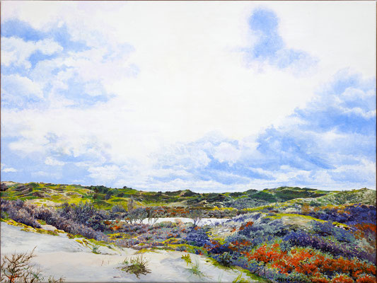 Grateful that the world exists. (Dunes near Wassenaar) and that the people take care of it. Painted by Marian van Zomeren- van Heesewijk with acrylpaint on linen 60 x 80 cm.