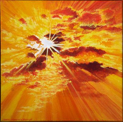 The sun will always shine . Acryl-paint on linen 40 x 40 cm.