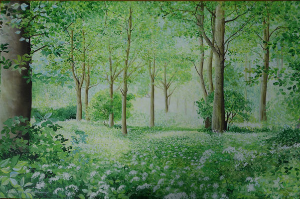 """2013 """" Peaceful place in the Balijbos near Zoetermeer"""" Acrylic paint on linen 80 x 120 cm."""